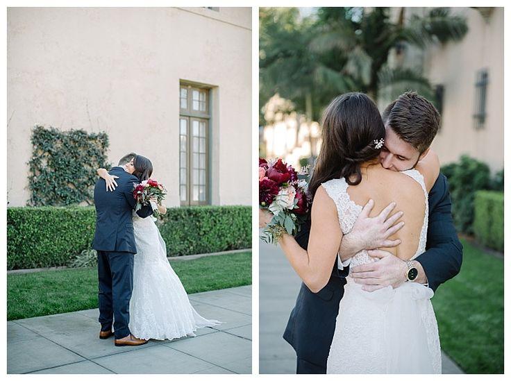 Newly weds embrace outside beautiful Ebell club | Brooke Bakken BlogEBell Club Wedding | Jen + Josh | Long Beach California Photography
