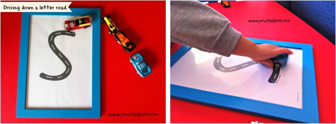 Let's drive down a letter road. Letter recognition, familiarisation, directionality for handwriting.  See the full list of suggested activities using letter roads .... http://www.yourkidsot.com/1/post/2014/04/lets-drive-down-a-letter-road.html