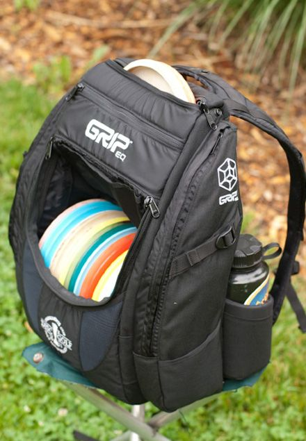 The leading disc golf bag on tour is by Grip EQ. This backpack style bags holds 20+ and two 32 oz water bottles discs in addition to multiple pockets for miscellaneous items. Incredibly comfortable, this is a must for the advanced disc golfer!