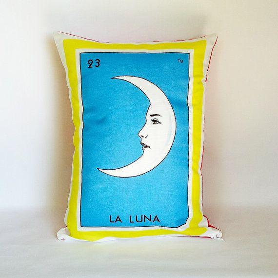La Luna (Moon) Loteria Pillow Cover with Zipper - Linen Cotton Canvas - Mexico Chic - Day of the Dead, Dia de los Muertos on Etsy, $38.00