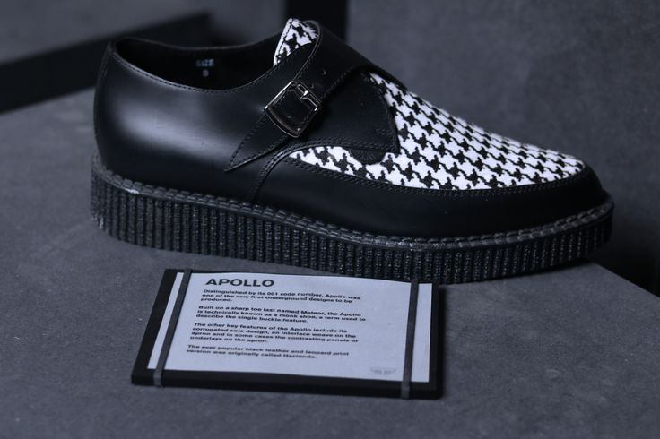 UNDERGROUND SHOES. Apollo Creepers. Black Leather Houndstooth Creeper Shoes.
