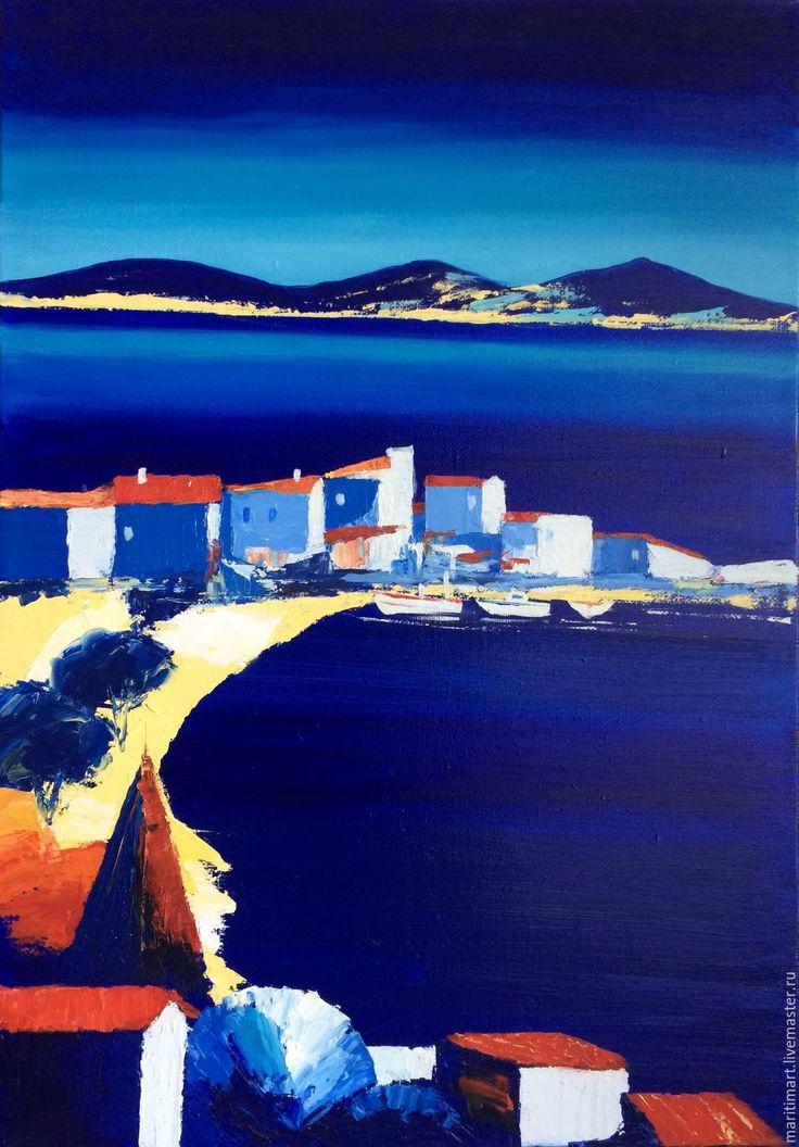Купить Картина маслом. Летний полдень - тёмно-синий, море, лето, морской пейзаж