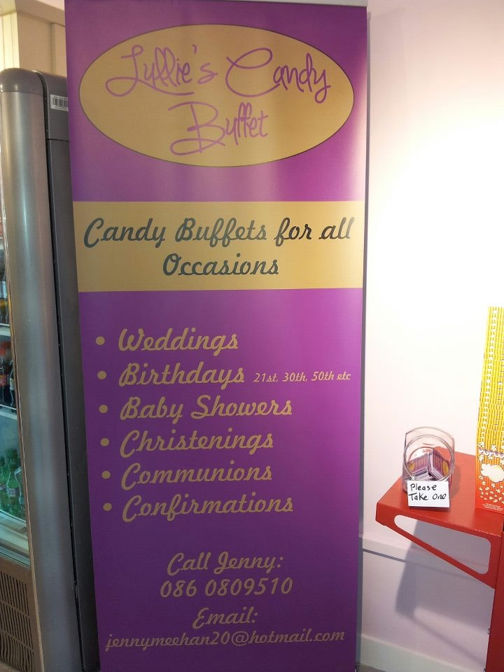 """This the new sign for my business """"lullies candy Buffet"""""""