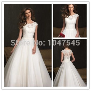 http://www.amazon.com/likaliku-Aliexpress-Cheap-Shopping-App/dp/B01BR7ALB2/ Fashion Wedding Dress with Lace Cap Sleeve High Neck Tulle Bridal Gowns See Through Back 2014 New Designers White Romantic
