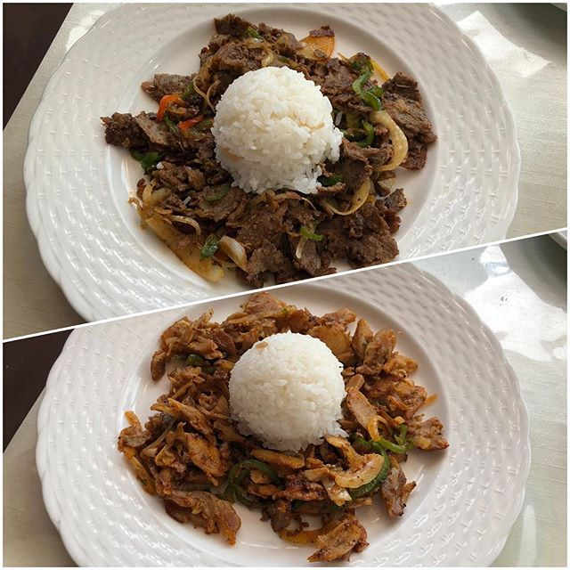 my lunch chicken beef doner kebab plate beef kebab lunch