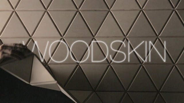 Woodskin: By dividing the rigid plan of wood into small triangle, the material is freed - able to be shaped as the maker desires. This approach renders a wooden surface malleable, not just for decorative purposes, but also as solid and functional covering system for interiors and design.
