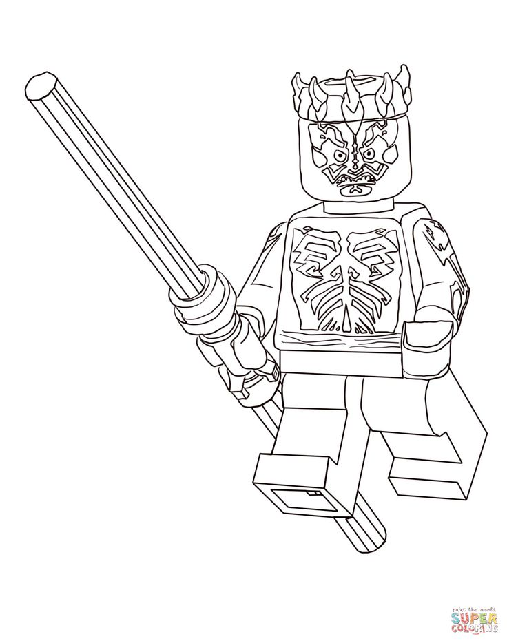 lego darth maul coloring page  star wars party