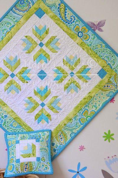 """Marie's quilts: Мятное кукольное одеялко / Doll quilt """"Mint"""""""