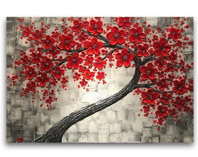 Red cherry blossom tree painting, Original Painting, silver red wall art decor, textured abstract art, impasto painting