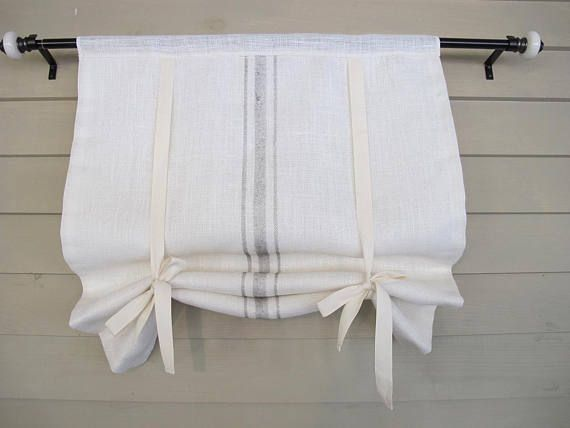 Modern Farmhouse Styling This White Burlap Not Pure White Window Shade Is Embellished With Painted Stripes That Mimi Rustic Curtains Tie Up Shades Curtains