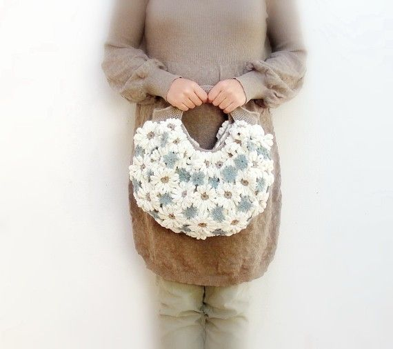 Crazy Daisy  Crochetted Chenille Puffy Happy Sunny Bag by StarBags