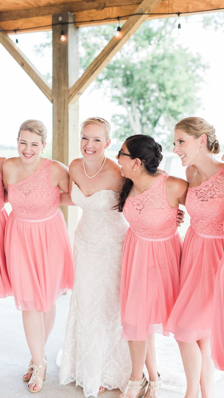208 best bridesmaids images on pinterest bridesmaids mermaid dress your girly bridesmaids in a smashing shade of coral kirstie lace wedding dress by ombrellifo Choice Image