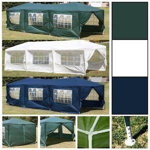 The 10x30 Party Tent includes full enclosure (6 window panels & 2 zipper doors). Great temporary use for BBQs, weddings, parties, backyard, events, yard sales, a produce stand, etc. Color: White Holds
