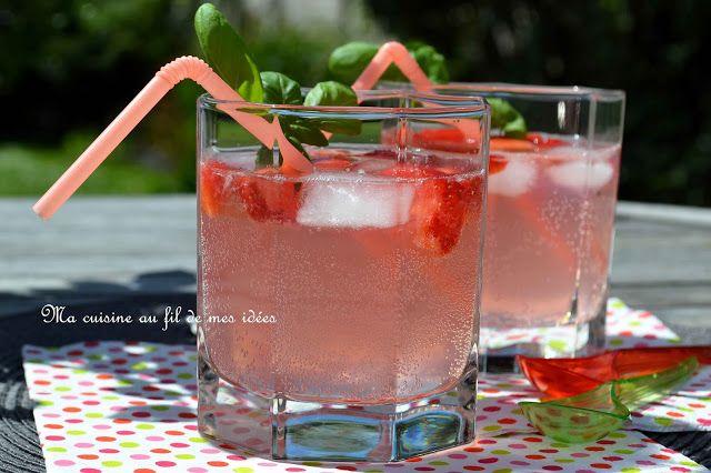 """Ma cuisine au fil de mes idées...: Cocktail """"girly""""... cidre rosé, fraise, citron ver..."""