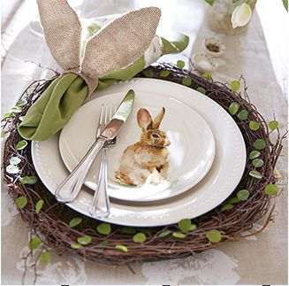 LOVE the napkin ring holders! Easter Table setting- Pottery Barn