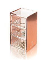Rose Gold Acrylic Makeup, Jewelry, Stationary Holder, Organizer, 3 drawer, Compact by Lucido Cosmetics