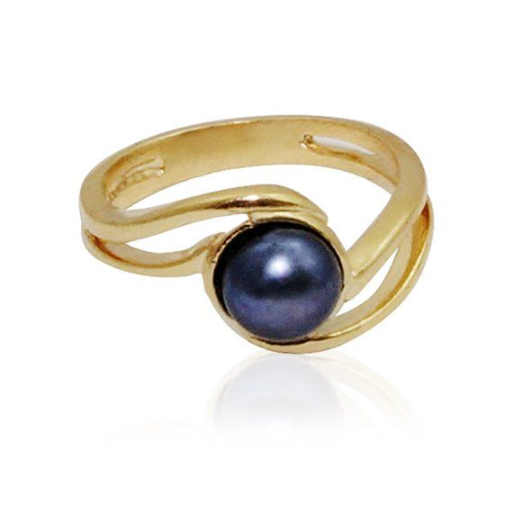 Pearl Ring Hand Made Of 9 Ct Gold With Genuine Black Pearl You Can Choose Any Stone You Want Black Or Whie Pearl Jewelry Ring Black Pearl Ring Pearl Ring