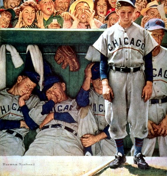 """Jeers from Crowd"" by Norman Rockwell, Style: Regionalism ・ Genre: genre painting"