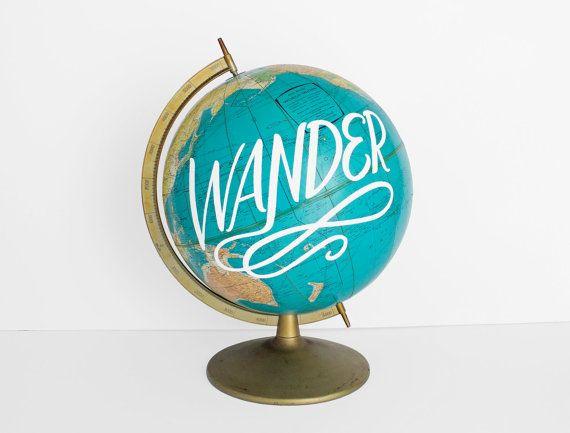 The Original Painted Globe WildandFreeDesigns Wander Vintage Travel Inspirational Blue Gold Nursery Adventure