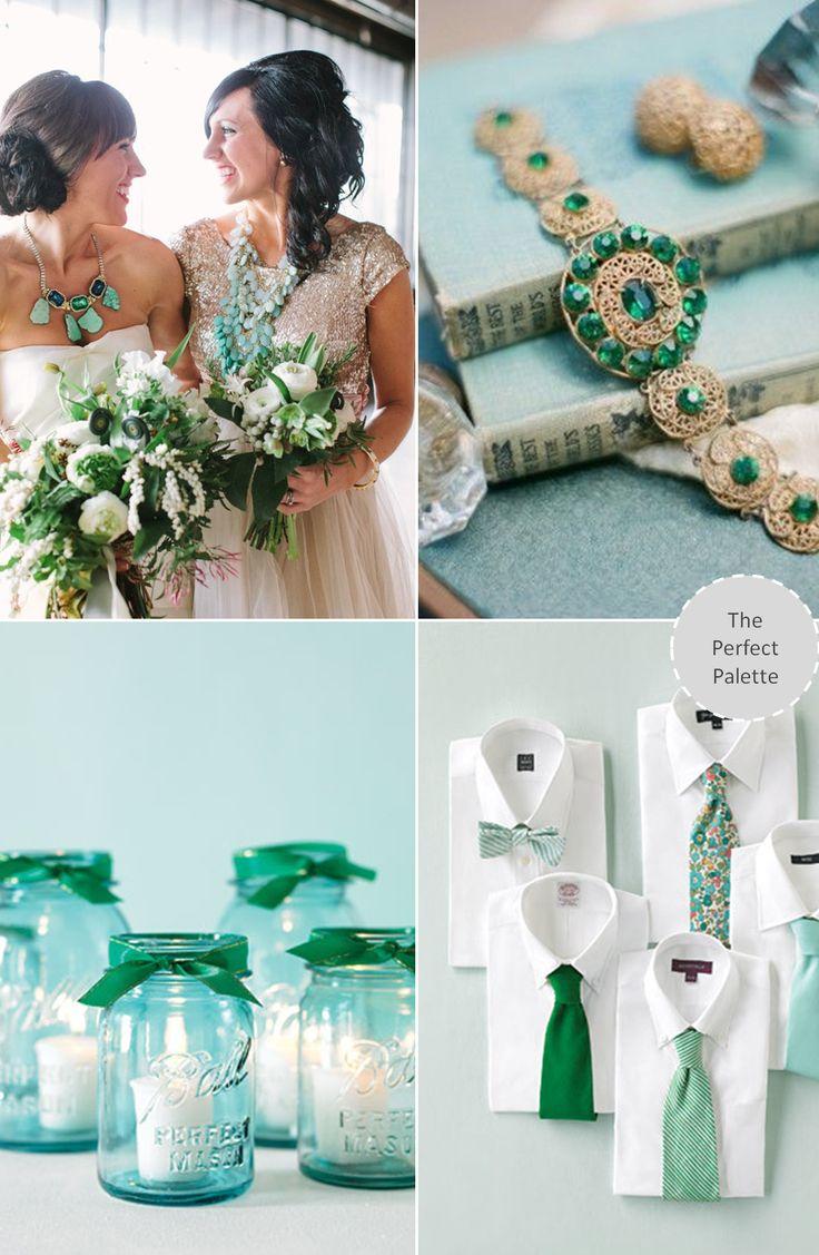 Wedding Colors   Aqua & Emerald http://www.theperfectpalette.com/2013/10/wedding-colors-aqua-emerald.html