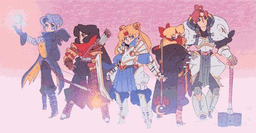 m2manga sailor moon fantasy set // sailor scouts.