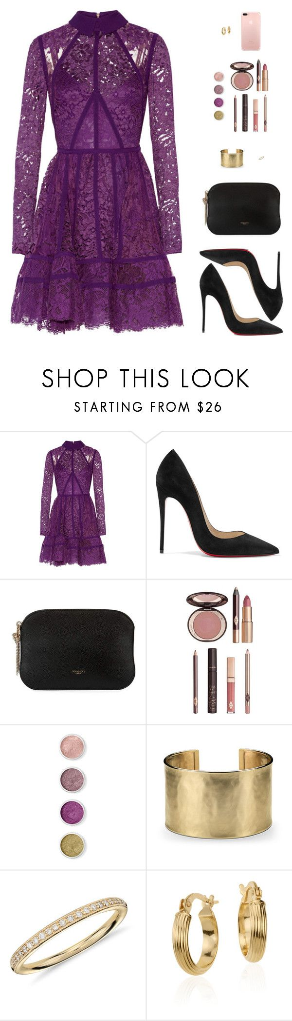 """""""Sin título #4467"""" by mdmsb ❤ liked on Polyvore featuring Elie Saab, Christian Louboutin, Nina Ricci, Charlotte Tilbury, Terre Mère and Blue Nile"""