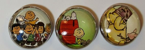 One Inch Refrigerator Magnets of Frozen Peanuts and Winnie