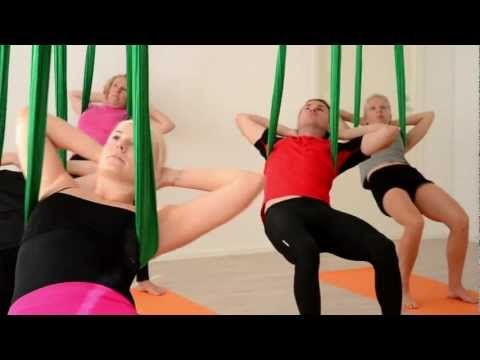 Video Aerial Yoga (Ilmajooga) at Vertical Club. So interesting, but only in Helsinki.