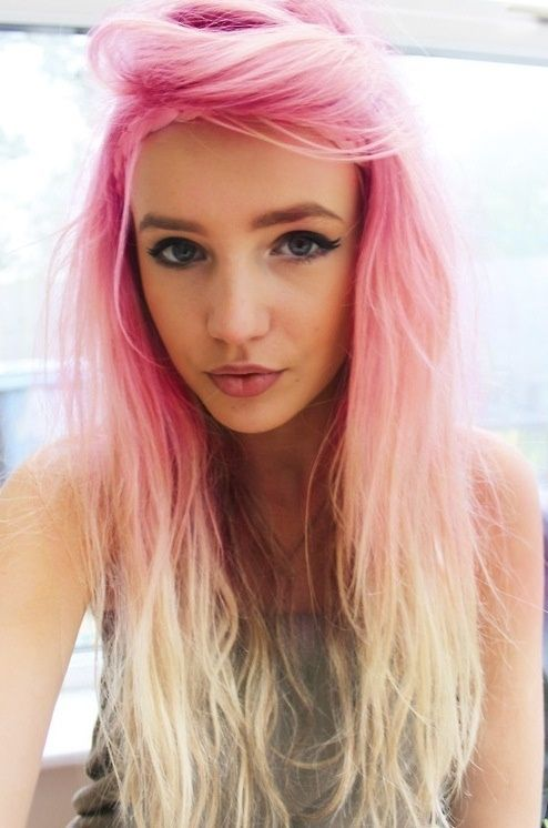 pink to white ombre hair. .