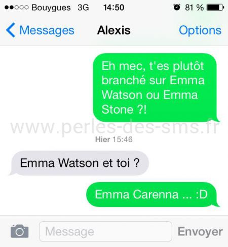 Emma watson ou emma stone, eh macarena perles des sms