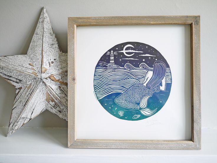 Mermaid lino cut lino print