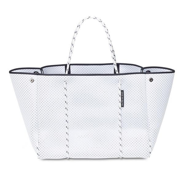 ESCAPE bag in white. The originators and creators of the perforated neoprene Escape carryall bag. 100% designed and handcrafted in Australia.