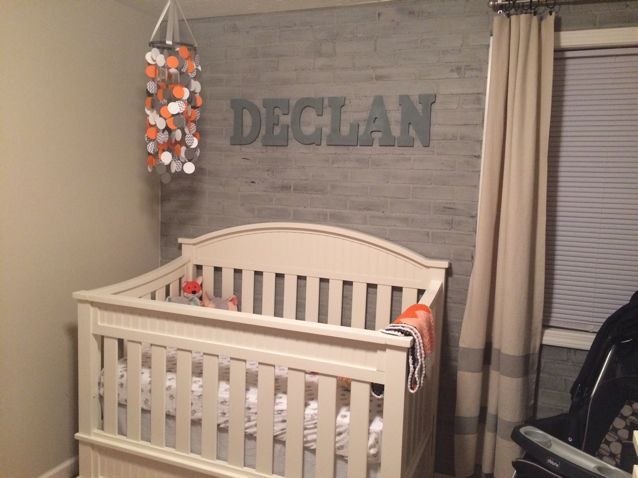"""Declan - A traditional Irish name meaning """"man of prayer"""" or """"full of goodness."""" St. Declan founded a monastery in Ireland, and St. Declan's Stone has purportedly been the site of many miracles. #name #baby #grey #orange"""