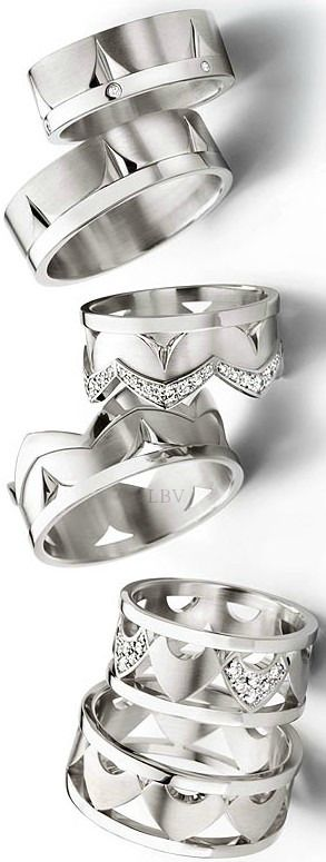 Wedding Bands ♥✤Platinum His and Hers (King/Queen Theme) Matching Bands Styles | LBV