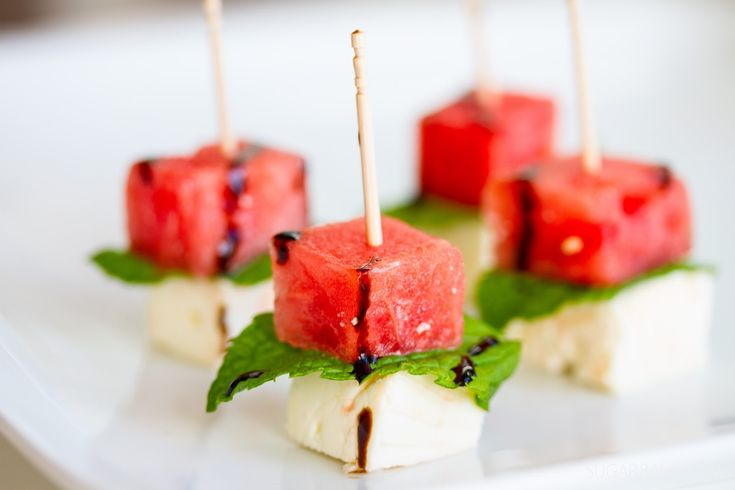 Watermelon with Feta Cheese and Mint ~ Sugar Basil