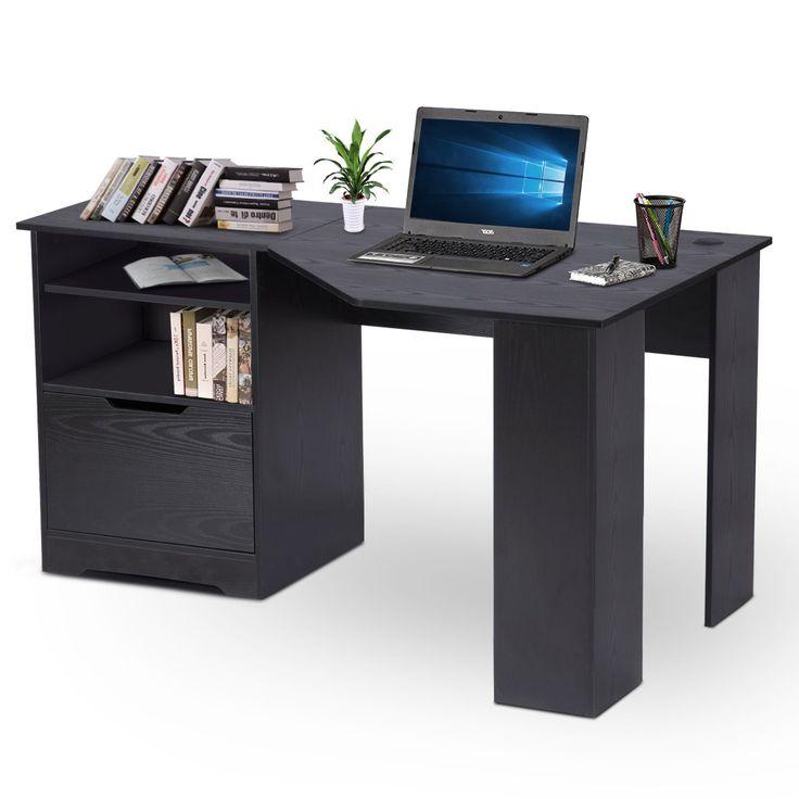 DEVAISE Wood L-shaped Corner Computer Desk for Home Office / Black