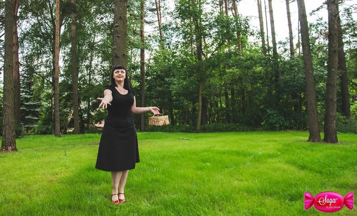 Czarna spódnica z grubej bawełny Pin Up skirt