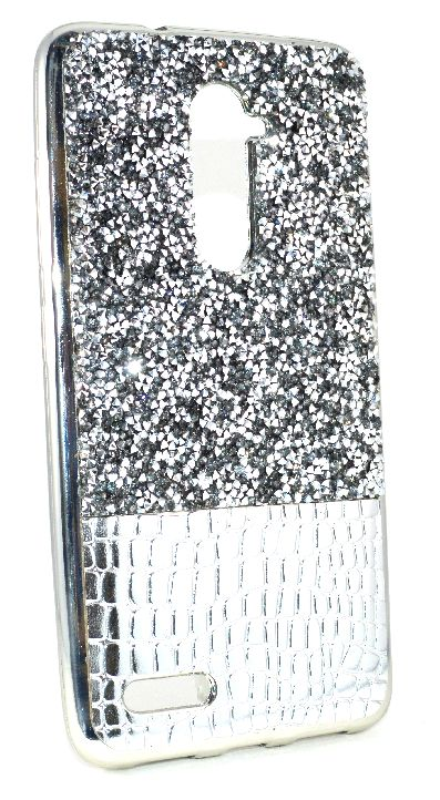 ZTE Zmax Pro (Z981) / Xmax 2 Case - Half Diamond Textured TPU Lightweight Thin Case includes Tempered Glass Protector - Silver
