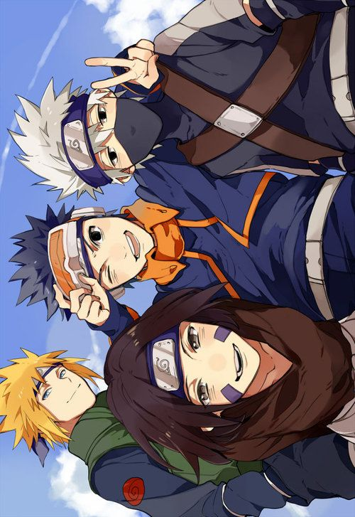 kakashi, naruto, and obito imageの画像