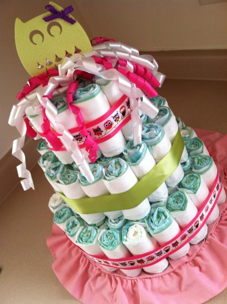 Owl Themed Diaper Cake For Little Girl Baby Shower Ideas