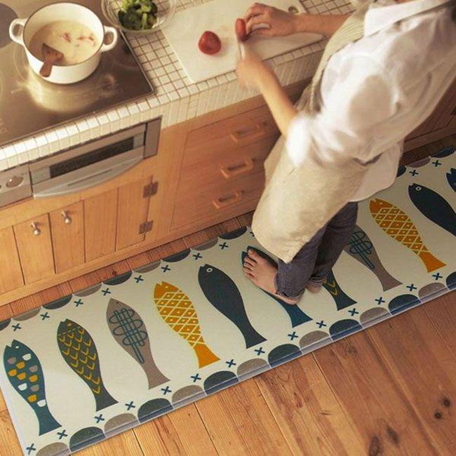 Коврик с симпатичным рисунком для ванной или кухни #КОВРИК #КУХНЯ #ВАННАЯ #РЫБЫ