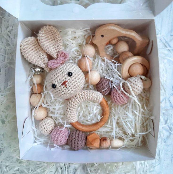 Baby girl bunny gift box crochet rattle baby gift set