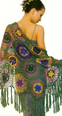 Связать шаль крючком crochet sunflower motif shawl free pattern