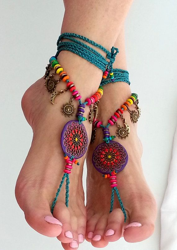 Mandala Boho barefoot sandals Hippie flower anklet, Bohemian crochet anklet, Gypsy foot jewelry Belly dance accessories Mexican wedding Teal