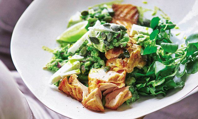 Grilled salmon with avocado, feta and pumpkin seeds