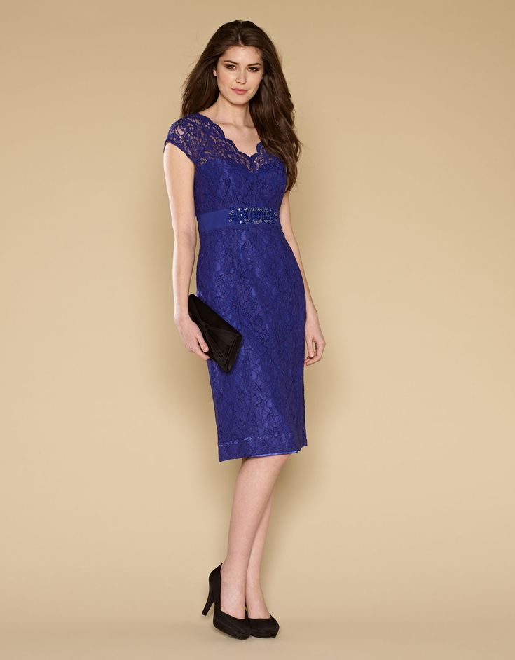 John charles navy and ivory lace dress