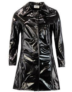 Jackie Womens 1960s Style PVC Raincoat in Black/Black from Madcap England