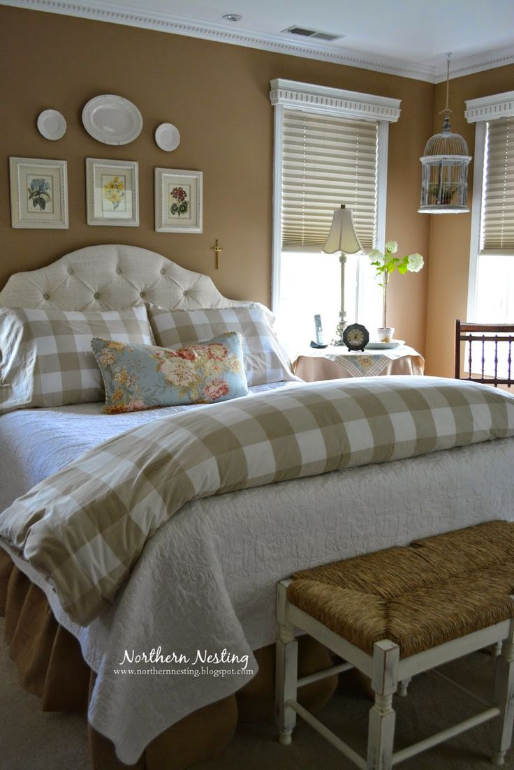 Love this bedroom -- buffalo checks, colors, comfy and beautiful!  Northern Nesting
