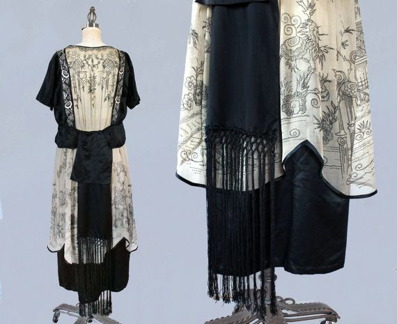 RESERVED Rare 1920s Dress / 20s Chinoiserie by GuermantesVintage