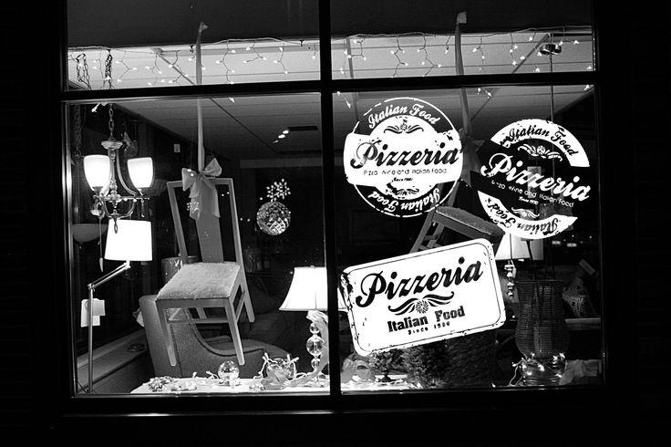 Wall Room Decor Art Vinyl Sticker Mural Decal Pizza Pizzeria Word Outdoor Logo Emblem Shop Italian Food Restaurant Sign Stamp Large AS1134